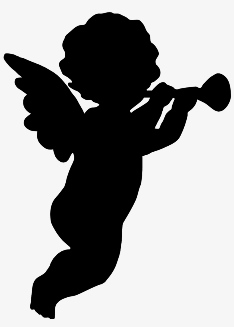 Trumpeting angel clipart free library Trumpet Blowing Cherub Png, Angel Silhouette Clipart - Cherub ... free library