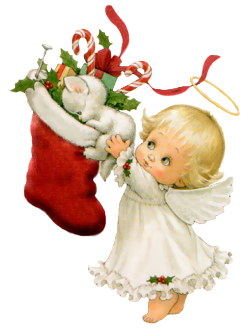 Christmas baby clipart png stock Cute Christmas Angel with White Kitten and Stocking Free PNG Clipart ... png stock