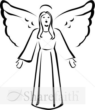 Free christmas angels clipart black and white. Singing angel winter