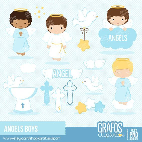 Angel cross clipart png library ANGELS BOYS - Digital Clipart Set, Angels Clipart, Baptism Clipart ... png library