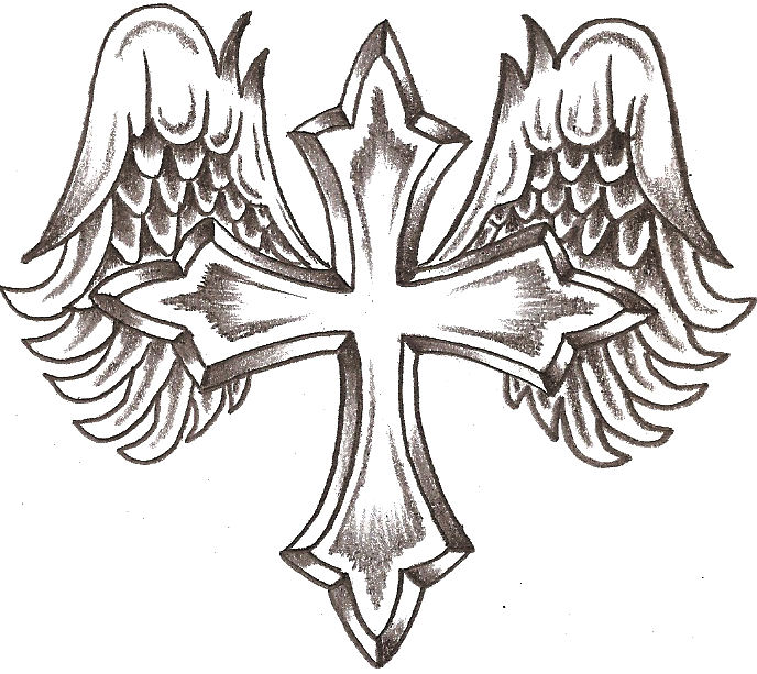 Angel cross clipart clip art black and white library Free Drawings Of Crosses With Wings, Download Free Clip Art, Free ... clip art black and white library