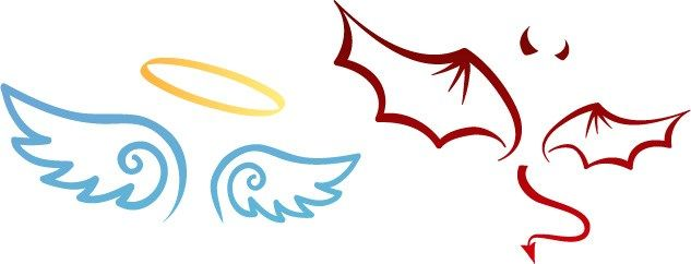 Angel devil clipart corner gothic png transparent Cartoon of angel halo and wings, devil horns and wings   Raw ... png transparent
