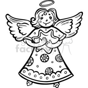 Free christmas angels clipart black and white. Angel holding a star