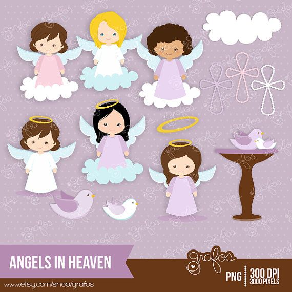 Clipart bautizo gratis clip art library download ANGELS IN HEAVEN 2 Digital Clipart, Angels Digital Clipart, Baptism ... clip art library download