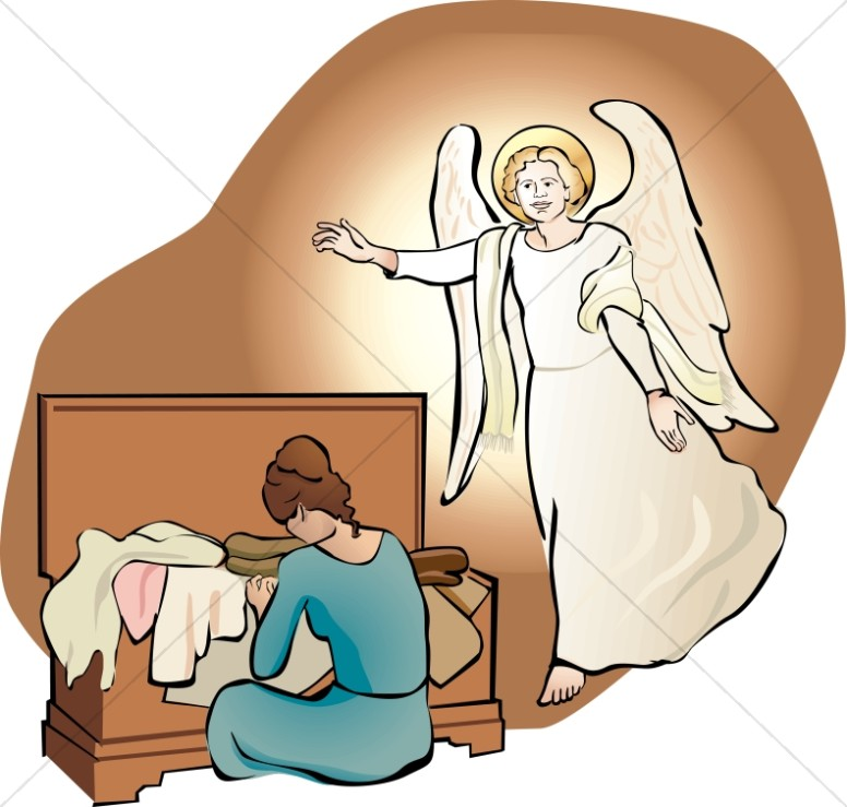 Angel talks to mary clipart free An Angel Visits Mary with her Trousseau | Nativity Clipart free