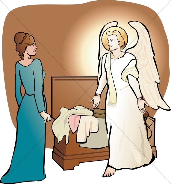 Angel visits mary clipart vector Mary in Awe of the Angel | Nativity Clipart vector