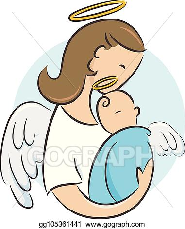 Angel moms clipart banner freeuse stock Vector Clipart - Baby newborn guardian angel illustration. Vector ... banner freeuse stock