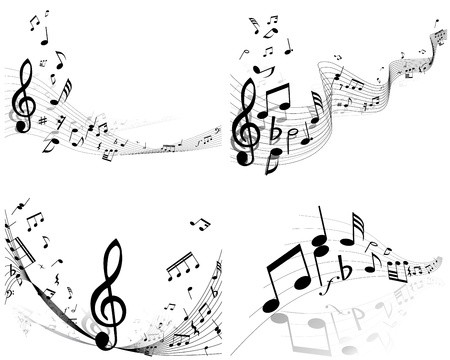 Angel music notes clipart png royalty free stock Vector musical notes staff background set for design use: Royalty ... png royalty free stock