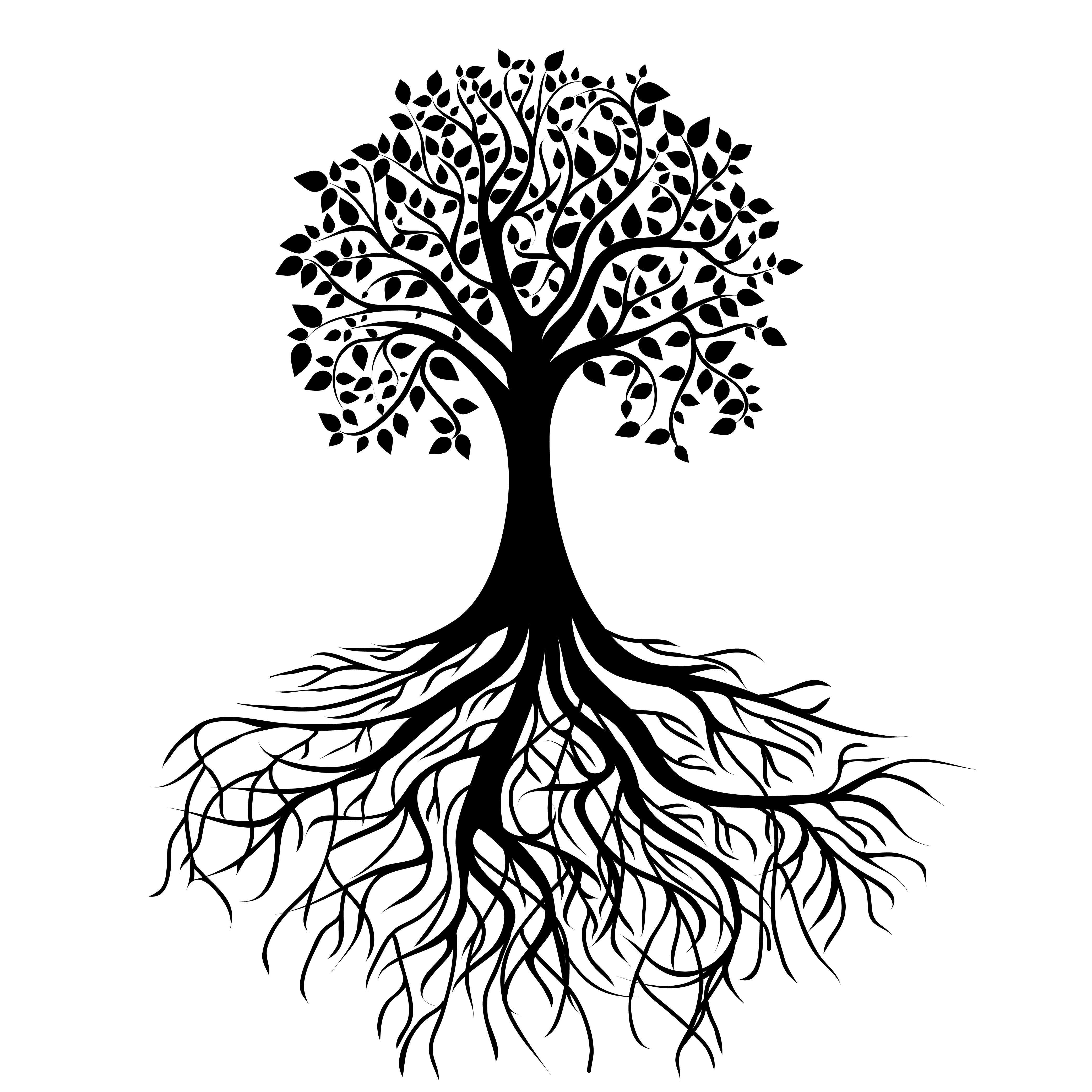 Black and white tree with leaves and roots clipart banner library library Black And White Tree Tattoos Clipart | Free download best Black And ... banner library library