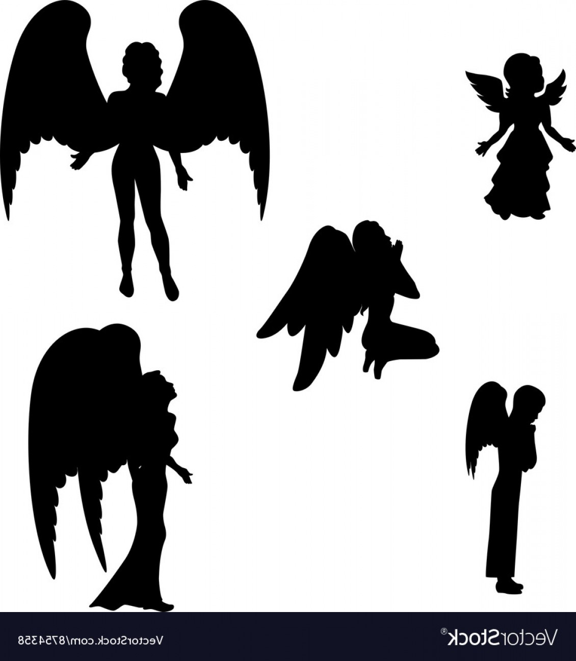 Angel sitting on ribbon clipart clipart royalty free Angel Vector Black | Savoyuptown clipart royalty free