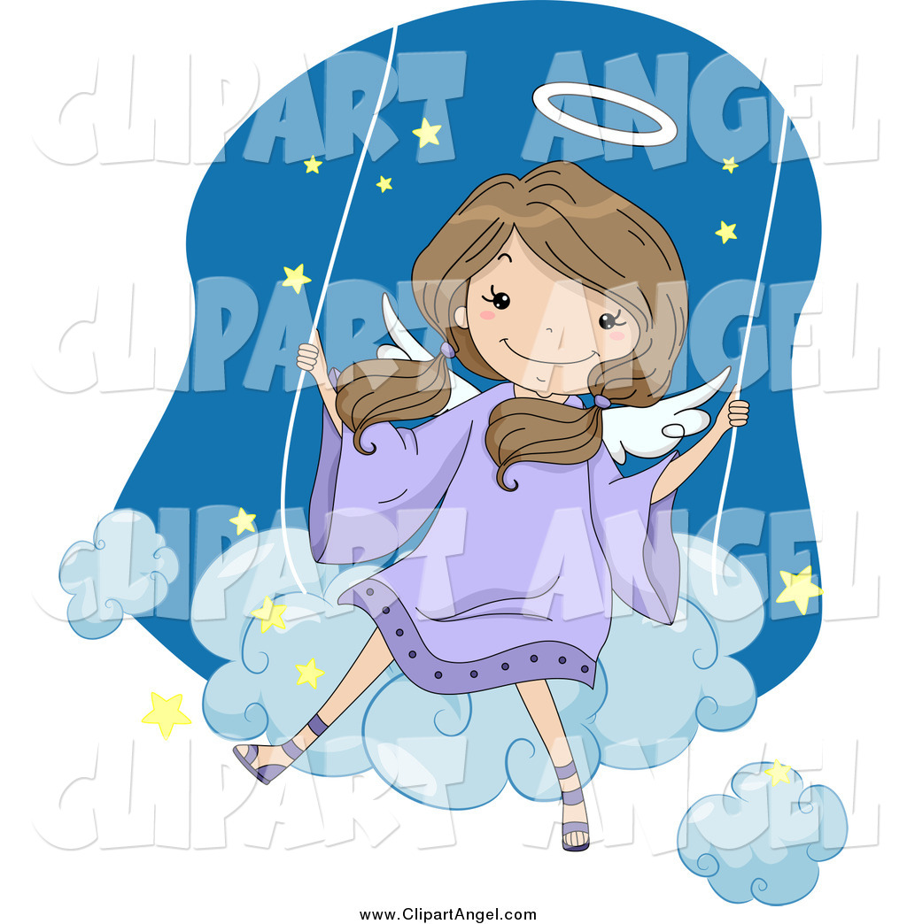 Angel swinging clipart image transparent download Illustration Vector Cartoon of a Cute Brunette White Angel Girl ... image transparent download