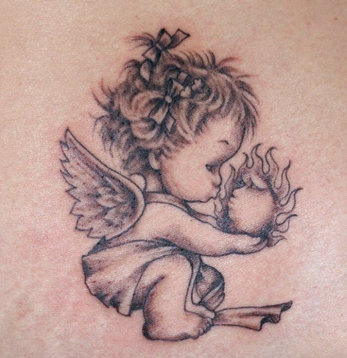 Angel tattoo clipart hd image black and white library 55+ Baby Angel Tattoos & Designs With Meanings image black and white library