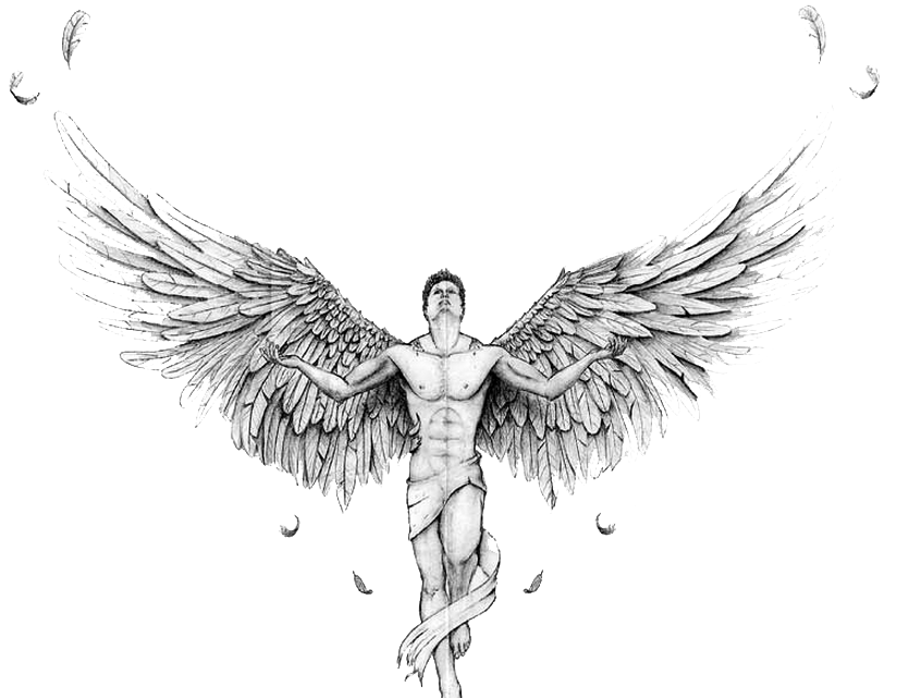 Angel tattoo clipart hd vector free stock Black and white Text Drawing Tatuaje Illustration - Angel Tattoos ... vector free stock
