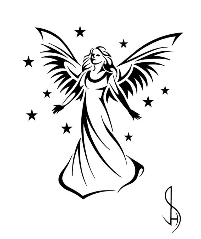 Angel tattoo clipart hd jpg Guardian Angel Design - Tribal Tattoo Design Style by JSHarts ... jpg