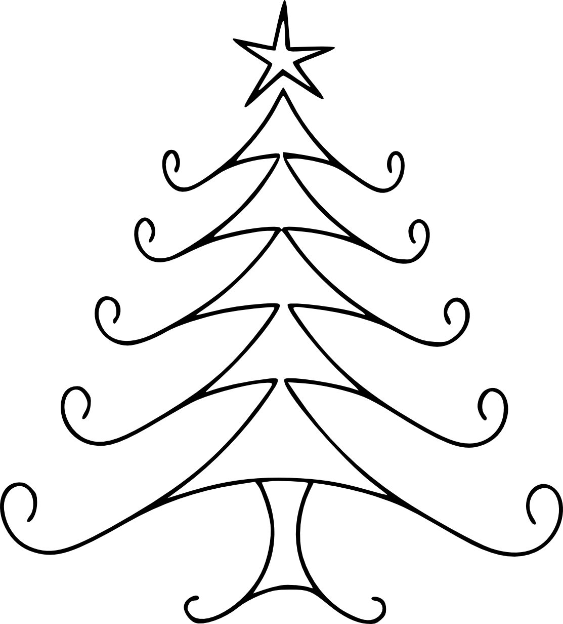 Funky christmas tree clipart jpg freeuse library Christmas Line Drawing - Cliparts. | CRAFT - HOLIDAYS | Pinterest ... jpg freeuse library