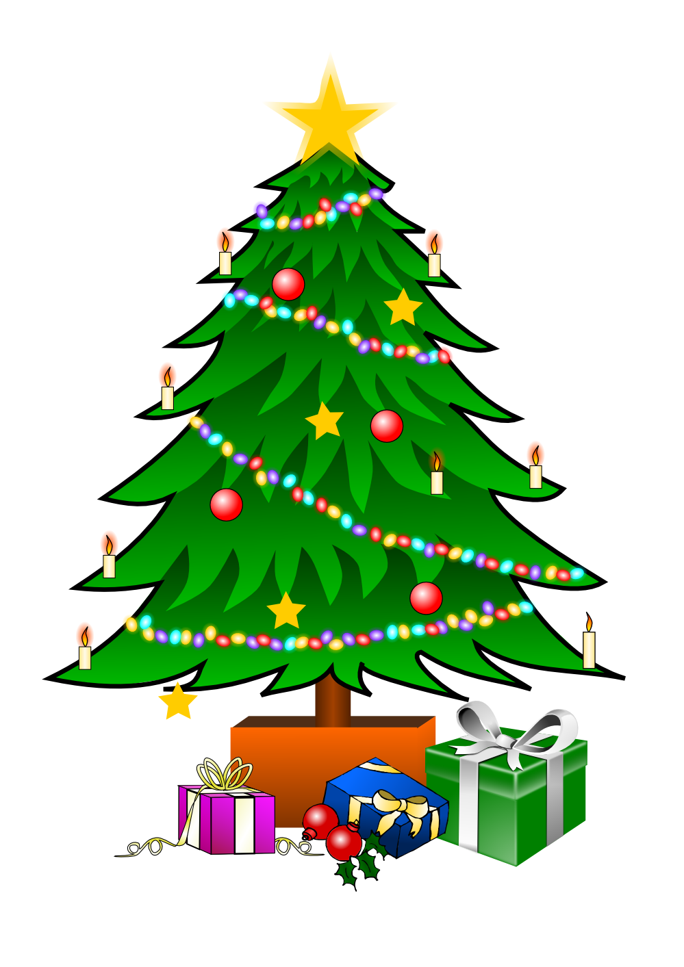 Chrismas tree clipart vector free This nice Christmas tree with presents clip art can be used for ... vector free