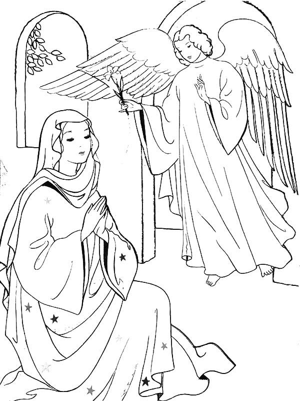 Angel visits mary clipart png black and white download Angel Appears to Mary and Joseph and Tell Them about Birth of Jesus ... png black and white download