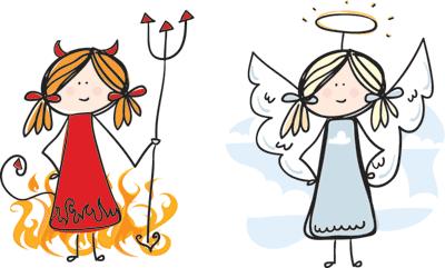 Angel vs devil clipart library Girl angel vs devil on shoulder clipart - ClipartFest library