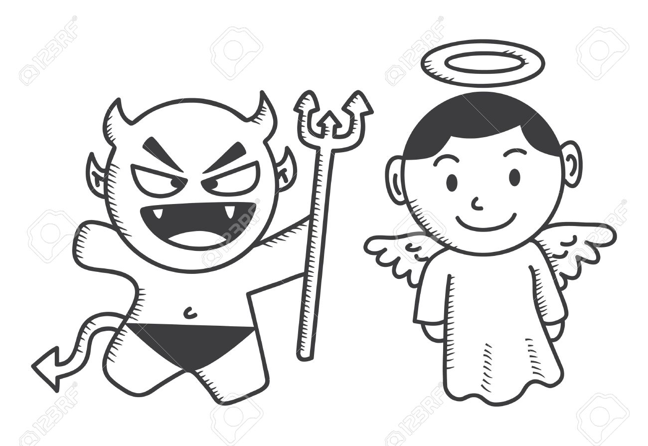 Angel vs devil clipart clipart freeuse Devil And Angel Cartoon Royalty Free Cliparts, Vectors, And Stock ... clipart freeuse