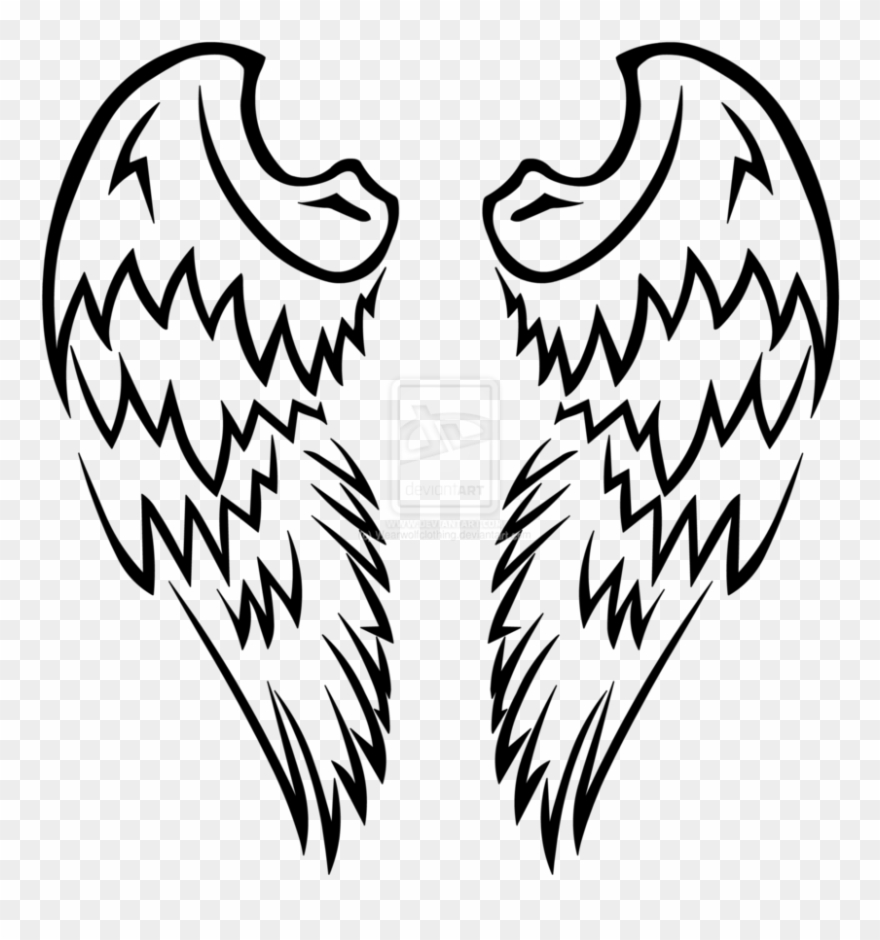 Angel wings with tribal design clipart