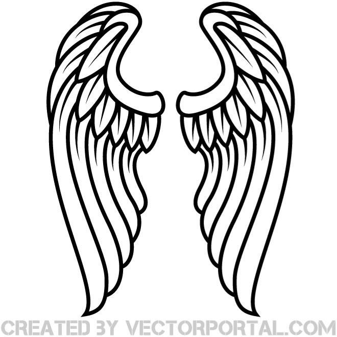Halo of flowers clipart black and white free black and white library Vector illustration of pair of wings. | Scroll saw | Angel wings ... black and white library