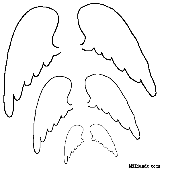 Angel wing patterns clipart png black and white download Angel Wing Templates Clipart - Clipart Kid png black and white download