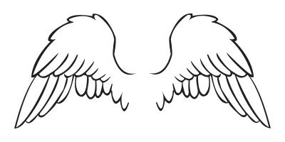 Angel wing stencil clipart svg wing stencil | Angel Wing Stencil Tattoo Outline, Girly Baby Wings ... svg
