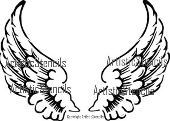 Angel wing stencil clipart svg black and white More for fabric painting! Angel Wings Stencil 10x7 by ... svg black and white