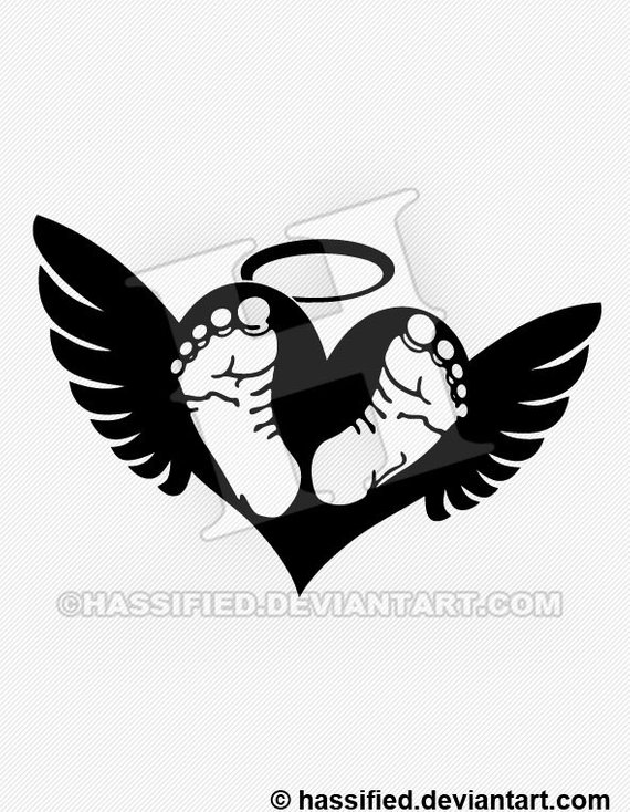 Angel wings with baby footprint clipart black and white clipart stock Baby Footprints with Wings - SVG cut file printable christian htv ... clipart stock