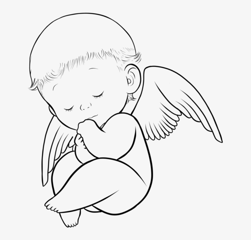 Babies Clipart Angel Wing - Baby Angel Clipart Black And White ... jpg transparent