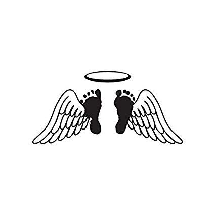 Angel wings with baby footprint clipart black and white