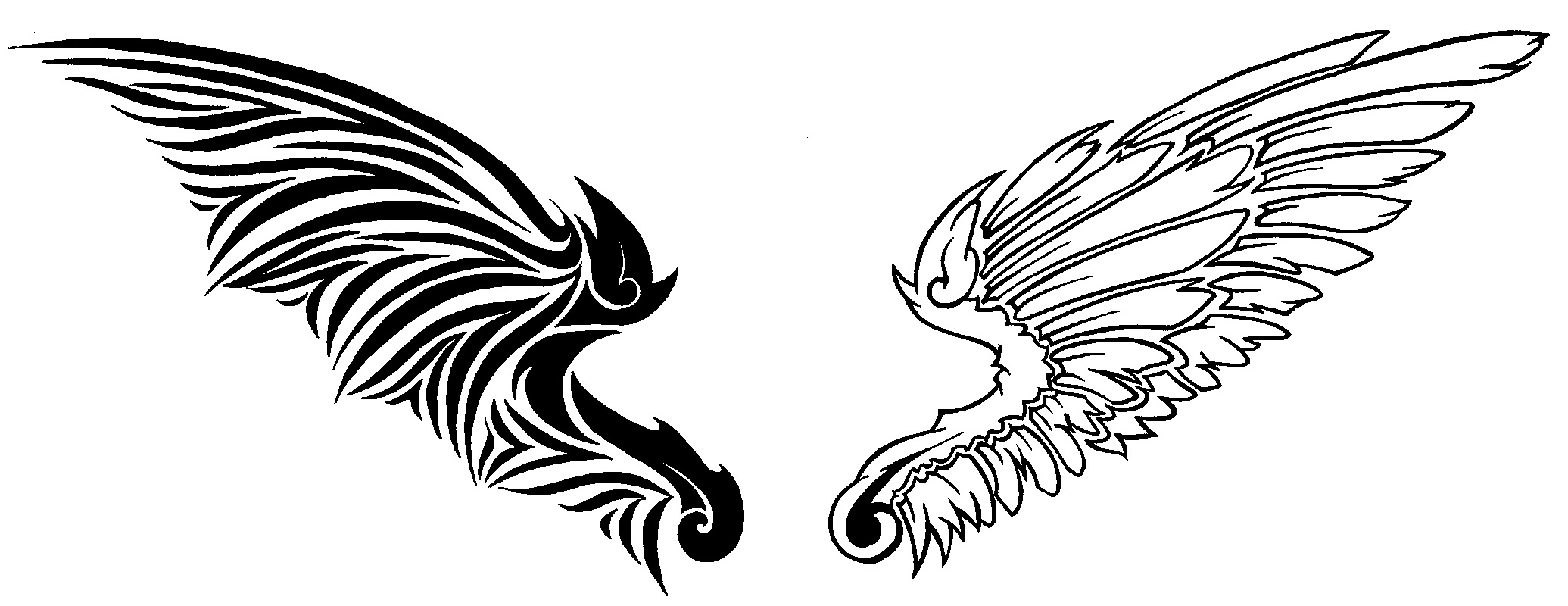 Angel wings with tribal design clipart picture royalty free Free Wings, Download Free Clip Art, Free Clip Art on Clipart Library picture royalty free