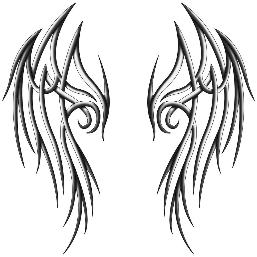 Angel wings with tribal design clipart clipart black and white stock tribal angel wings - ClipArt Best - ClipArt Best | [Inspire] Tattoo ... clipart black and white stock