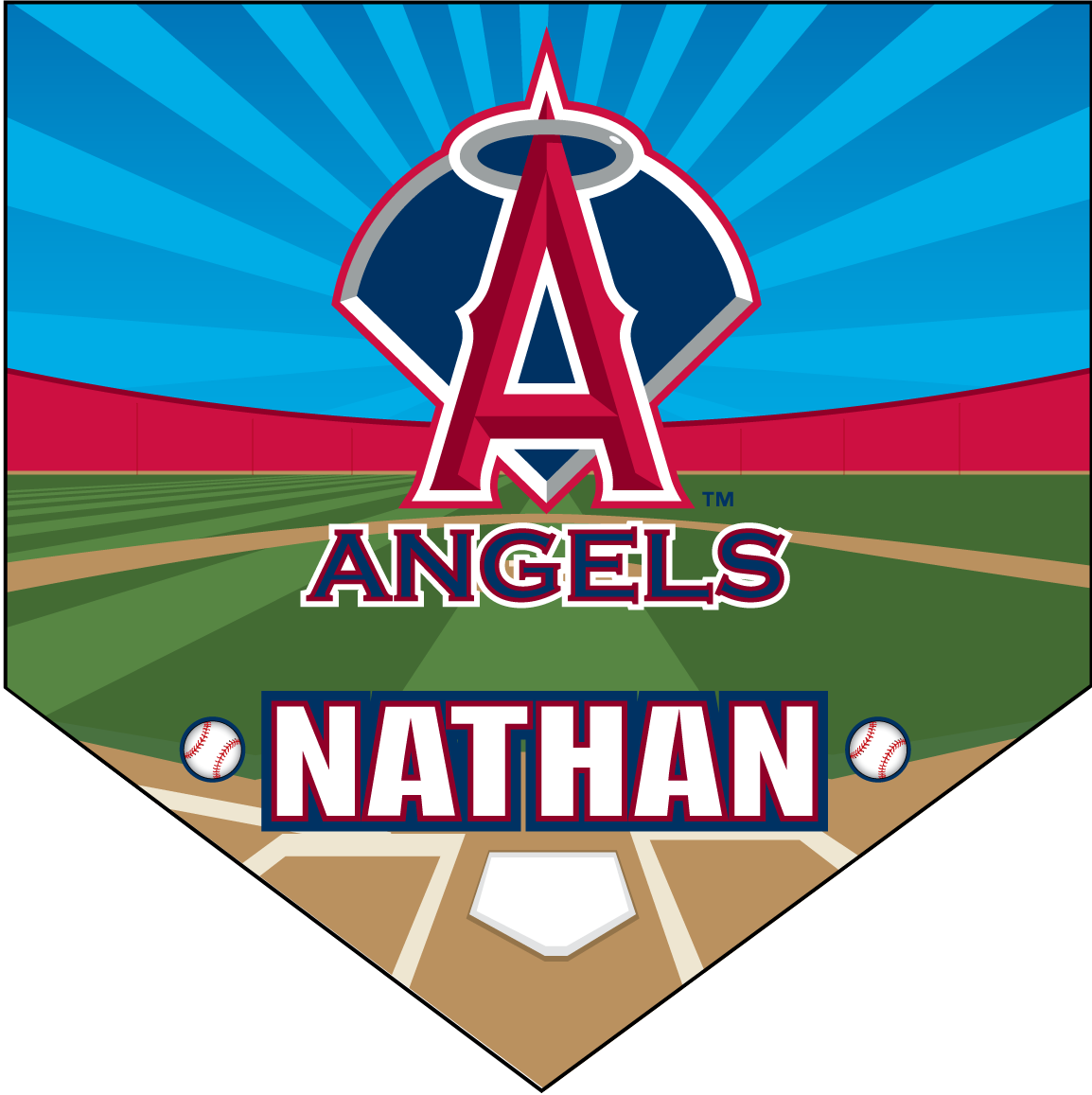 Baseball pennant clipart png vector transparent stock Angels Home Plate Individual Team Pennant - Custom Baseball ... vector transparent stock