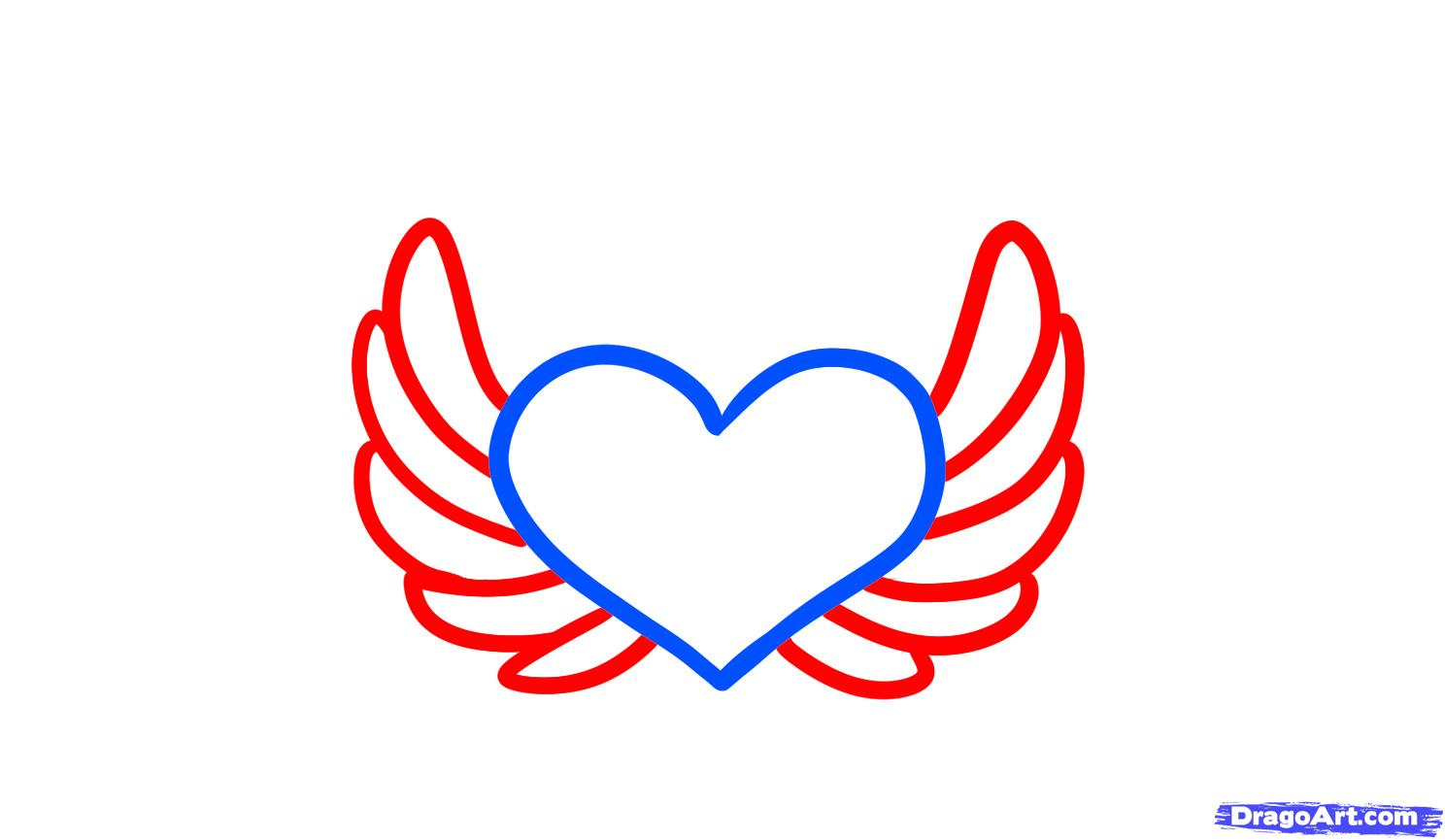 Angels hearts clipart png free stock How to Draw Angel Hearts, Step by Step, Tattoos, Pop Culture, FREE ... png free stock