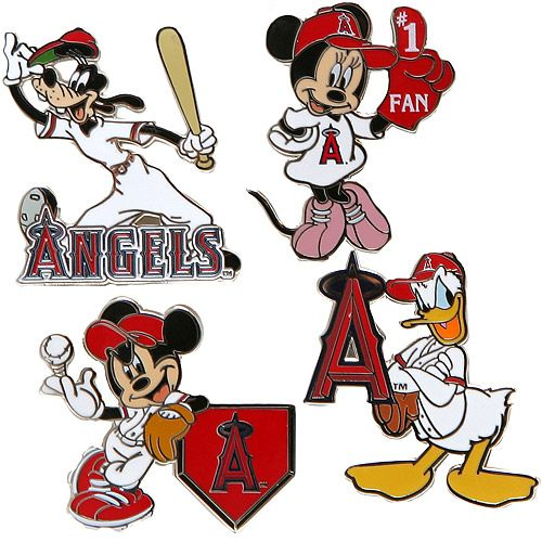 Angels in the outfield clipart graphic stock Los Angeles Angels of Anaheim Disney 4 Piece Pin Set by Aminco ... graphic stock