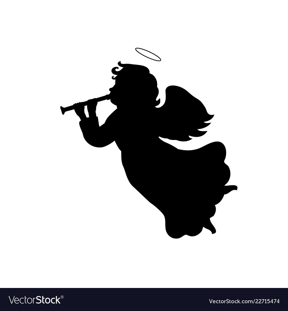 Angels playing instruments silochette clipart graphic library stock Silhouette christmas angel with trumpet graphic library stock