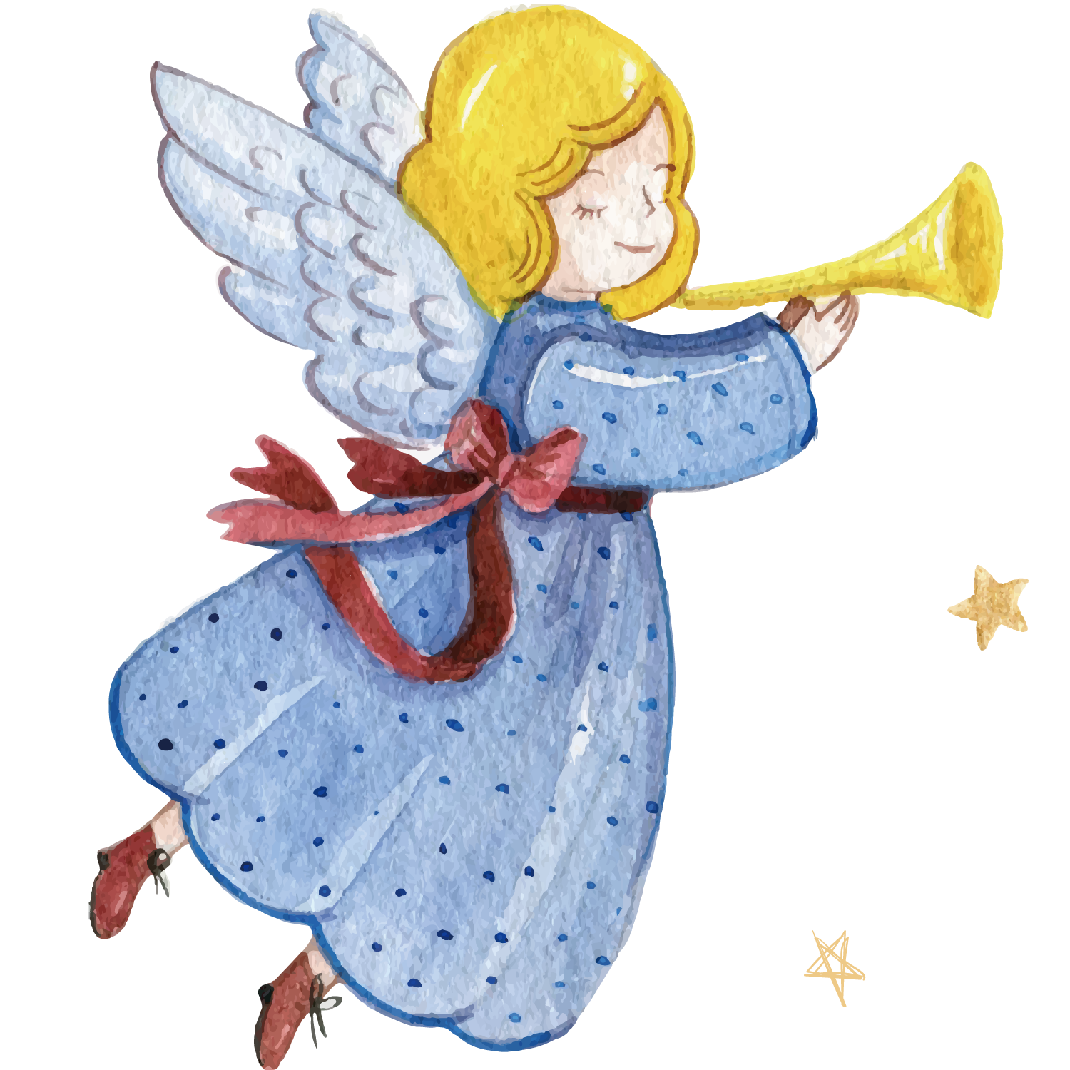 Angels playing instruments silochette clipart svg free download Christmas Illustration - Angel Trumpet watercolor background png ... svg free download