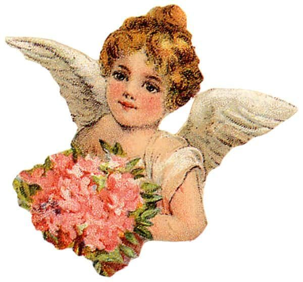 Angels victorian clipart svg royalty free library Victorian Cherub Angel With Bouquet Clip Art svg royalty free library