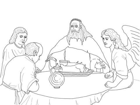 Angels visit abraham clipart png royalty free download God and the Angels Visit Abraham coloring page | Free Printable ... png royalty free download