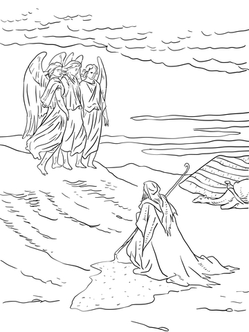 Angels visit abraham clipart vector freeuse download Abraham and the Three Angels coloring page | Free Printable Coloring ... vector freeuse download