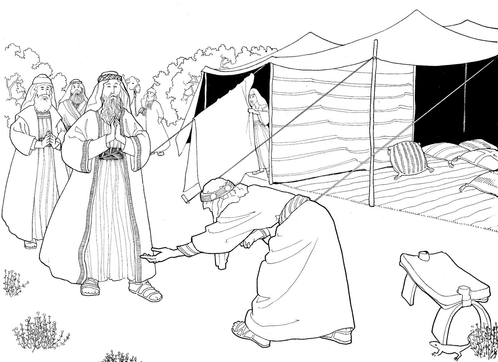 Angels visit abraham clipart image black and white library Abraham and the three heavenly visitors... | Coloring Pages ... image black and white library