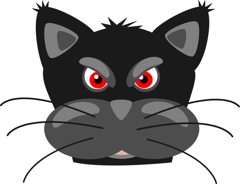 Free stock photo illustration. Cute black cat clipart