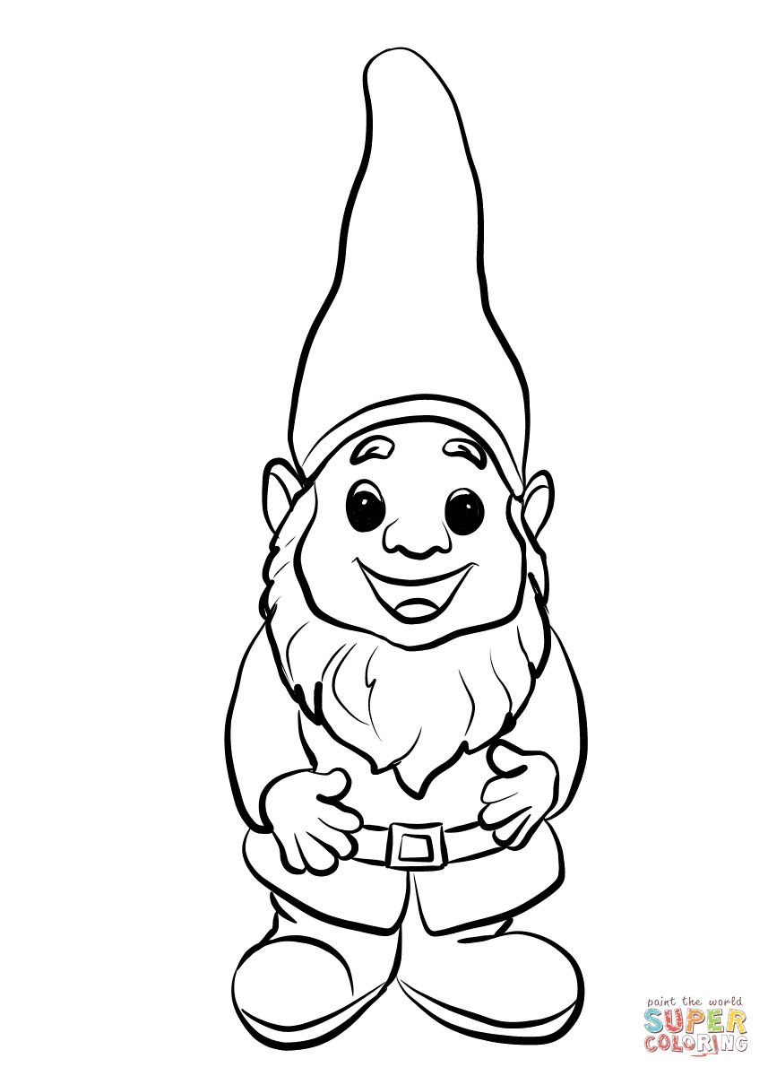 Angry bearded garden gnome clipart black and white banner royalty free stock Garden Gnome Drawing | Free download best Garden Gnome Drawing on ... banner royalty free stock
