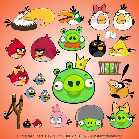 Angry birds 2 clipart png transparent library Buy 2 Get 1 Free! Digital Clipart \