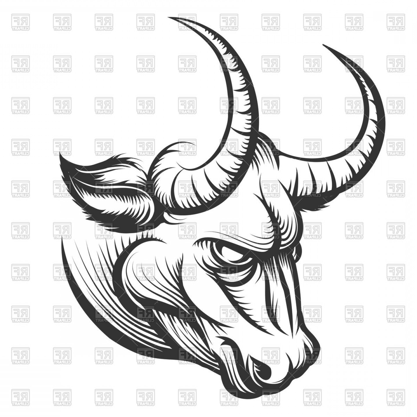 Angry bull vector clipart vector black and white library Angry Bulls Head Vector Clipart | SOIDERGI vector black and white library