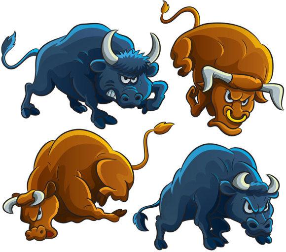 Angry bull vector clipart clip art royalty free Set of angry bulls design vector Free vector in Encapsulated ... clip art royalty free