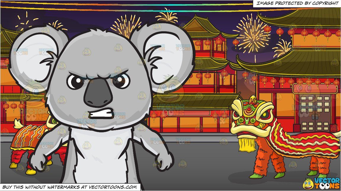 Angry chinese clipart png library library An angry koala bear and Chinese New Year Background png library library