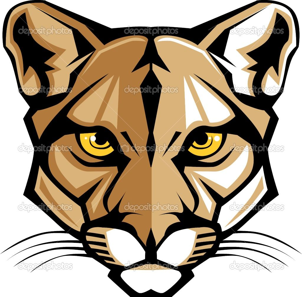 Angry cougar clipart hd graphic free stock Cougar Head Clip Art | Cougar Panther Mascot Head Vector Graphic ... graphic free stock