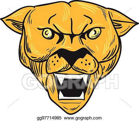 Angry cougar clipart hd image library library Vector Art - Angry cougar mountain lion head drawing. Clipart ... image library library